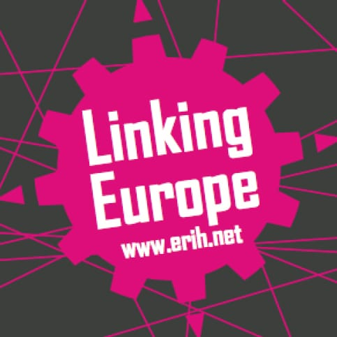 "The LE logo, consisting of the ERIH gear in pink with the inscription ""LINKING EUROPE"""