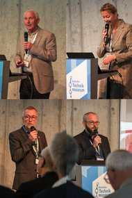 Collage of speakers, showing John Rodger, Bettina Quäschning, Harald Spiering and Jochen Schlutius (from upper left)