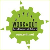 """The Work-it-Out logo, consisting of the ERIH gear in green with the inscription """"WORK it OUT. Day of Industrial Culture"""""""